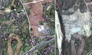 Satellite images of the village of Thit Tone Nar Gwa Son in Rakhine state, Myanmar, shown in December last year and again in February.