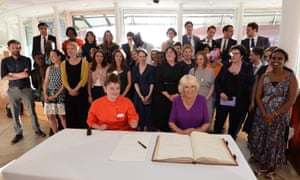 Signing on … the Royal Society Of Literature 40 Under 40 fellows, with the Duchess of Cornwall.