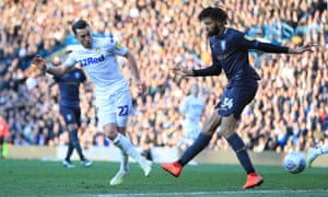 Jack Harrison opens the scoring for Leeds against Sheffield Wednesday at Elland Road.