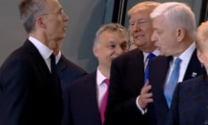 Donald Trump appeared to shove aside Dusko Markovic, the prime minister of Montenegro, at a Nato summit last year.