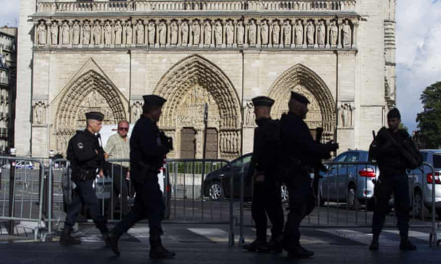 Police outside Notre-Dame Cathedral in Paris