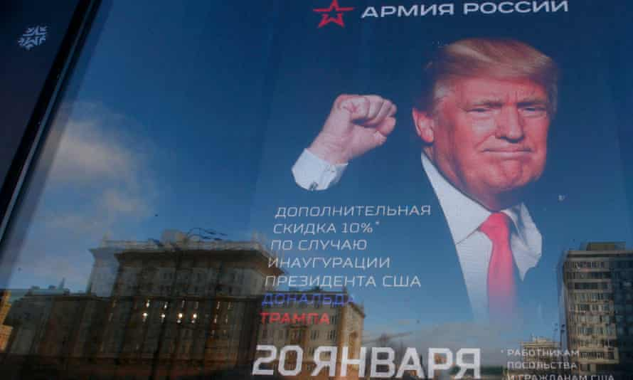 Army of Russia shop window in Moscow, with an image of Trump seen on the advertising banner.