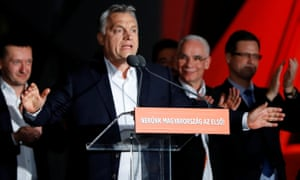 Hungarian Prime Minister Viktor Orban addresses supporters after the announcement of the partial results.