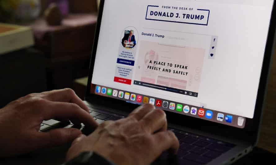 Donald Trump's social media platform on laptop