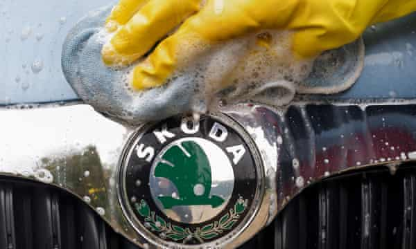 Skoda car being hand washed