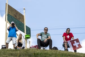 Spectators watch the men's Super G Super Combined race. The championship is taking place in Marbach, between 13th to 18th August 2019