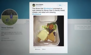 """A tweet depicting the """"catered"""" meal at Fyre Festival went viral in April 2017."""