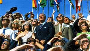 Former president and first lady Lyndon and Lady Bird  Johnson watch the liftoff of Apollo 11 at Kennedy Space Centre
