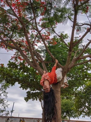 Rochika is climbing trees