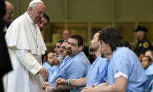 Pope Francis greets inmates during his visit to Curran-Fromhold correctional facility.