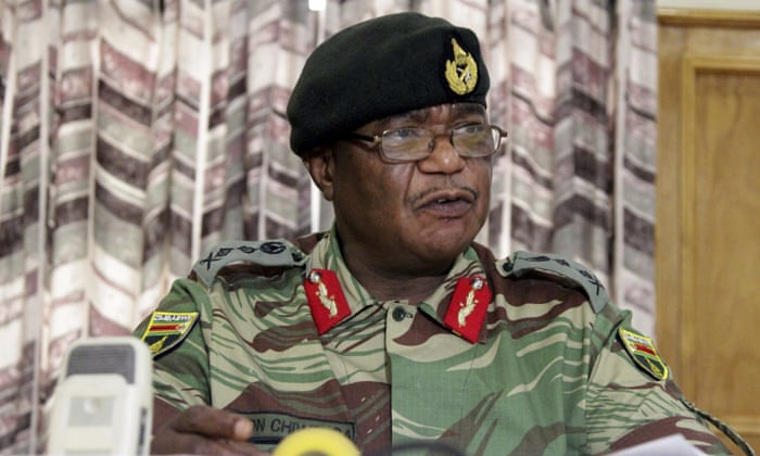 Zimbabwe's army commander, Constantine Chiwenga addresses a press conference in Harare.