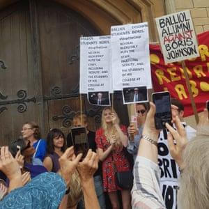 Protesters outside Boris Johnson's old college, Balliol in Oxford.