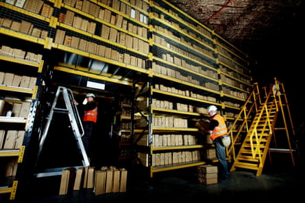 Undercover work … some of the many thousands of documents stored in a Cheshire salt mine.