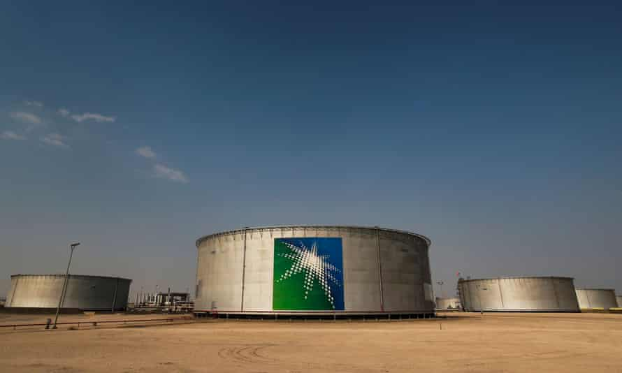 A Saudi Aramco oil facility in Abqaiq, Saudi Arabia. An investigation has found 96% of hospitality accepted by UK agency UKEF was from fossil-fuel companies such as Saudi Aramco.