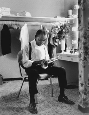 Louis Armstrong in his dressing room at the International Hotel, Las Vegas, Nevada, September 1970