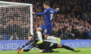 Southampton's Angus Gunn saves at the freet of Eden Hazard