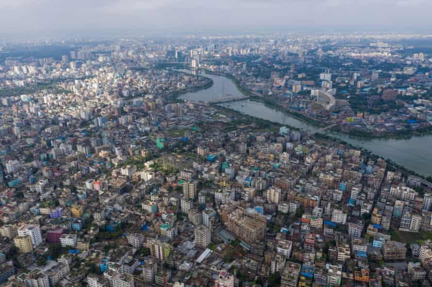 Aerial view of Dhaka, the capital of Bangladesh.