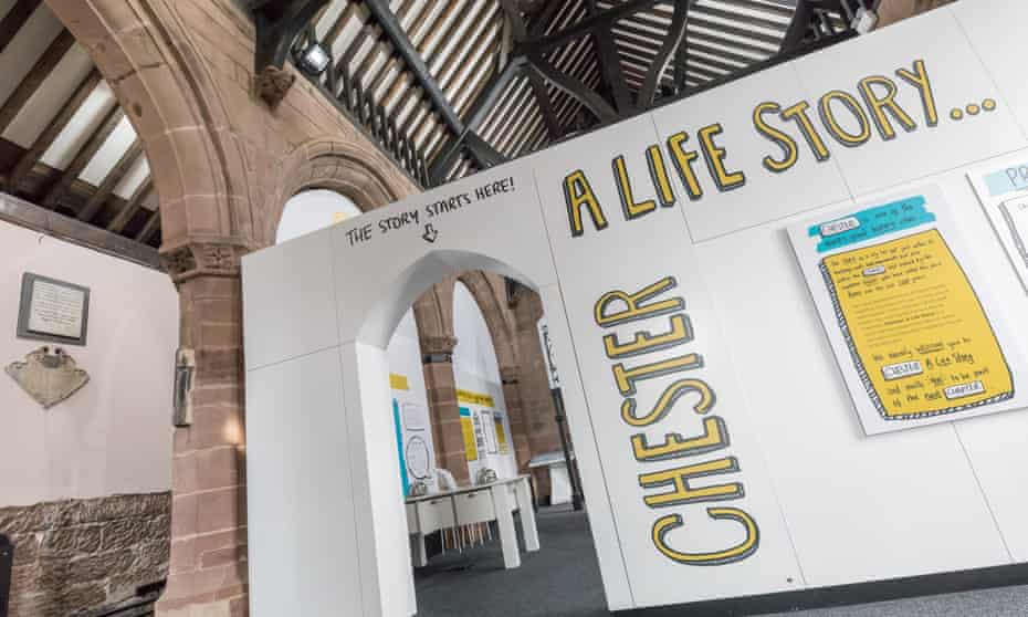 Signs and advertising at the entrance to Chester: A Life Story, a new heritage attraction in the city.