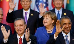 G20 leaders with Recep Tayyip Erdoğan in Antalaya on 15 November