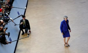 Theresa May arrives at the EU summit in Brussels.