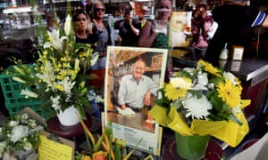 People pay their respects to Pellegrini's co-owner Sisto Malaspina, who was killed in a stabbing attack on Bourke Street last Friday. He will be honoured with a state funeral.
