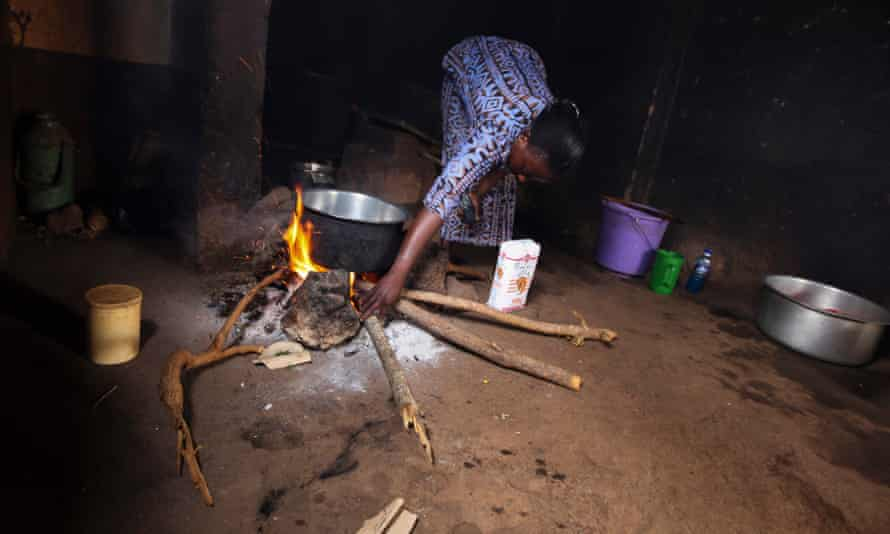 Cooking using firewood in Kibwezi, Kenya.