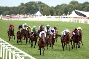 Frankie Dettori riding Sangarius leads the field on his way to winning The Hampton Court Stakes.