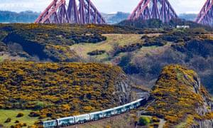 The Caledonian Sleeper nears the Forth rail bridge.