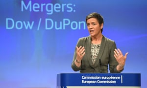 Margrethe Vestager, the EU competition minister, addresses a press conference on the US agri-chemical giants Dow and DuPont merger at the EC in Brussels.