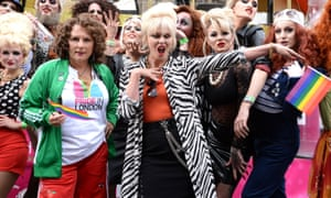 Jennifer Saunders and Joanna Lumley at Pride in London.