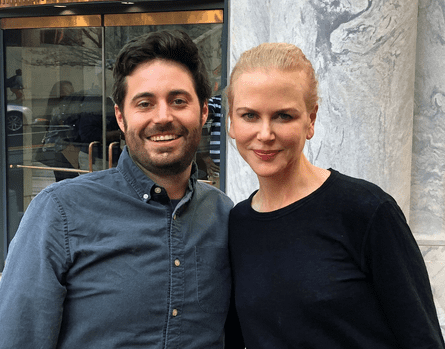 Famous friends: Garrard Conley and Nicole Kidman on the set of Boy Erased.