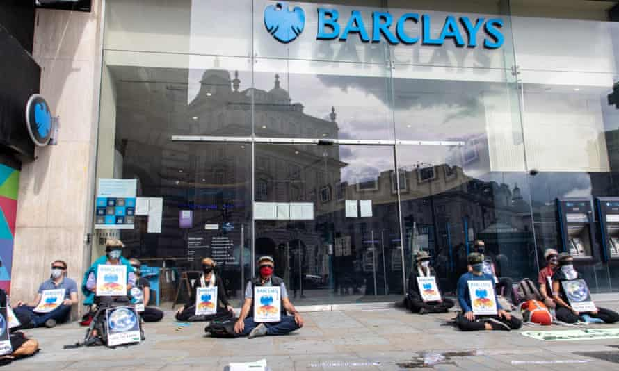 An XR Buddhists demonstration outside a Barclays bank in central London last week.