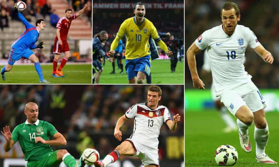 Belgium's Thibaut Courtois, Sweden's Zlatan Ibrahimovic, England's Harry Kane; Germany's Thomas Muller and Ireland's Darron Gibson.