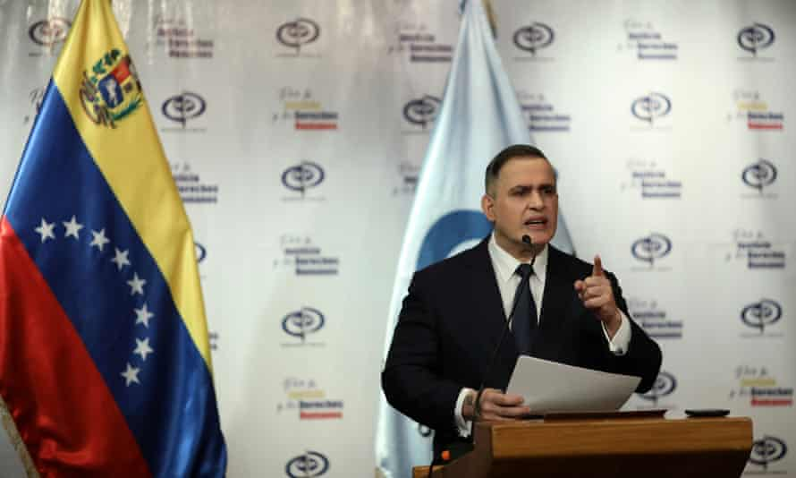 Venezuela's chief prosecutor, Tarek William Saab, in Caracas, Venezuela, on 8 May. Saab said three Venezuelan citizens, including one member of the military, were arrested and charged with treason as part of the alleged plot.