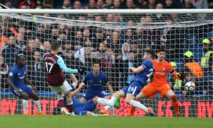 Javier Hernández equalises for West Ham United in the Premier League match at Chelsea.