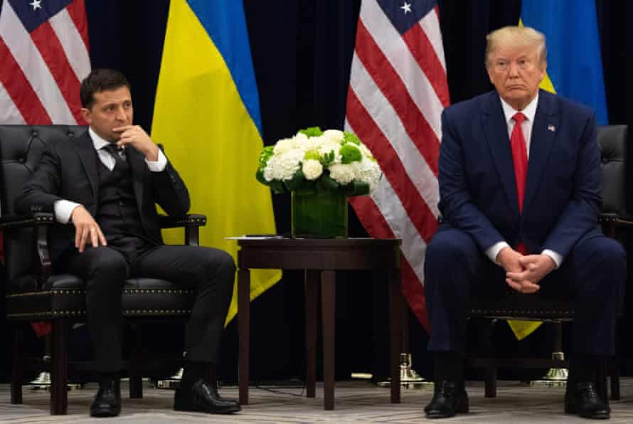 Donald Trump with Ukrainian president Volodymyr Zelenskiy at the UN on Wednesday. Democrats said the transcript of the pair's call represented a 'devastating' betrayal of America.