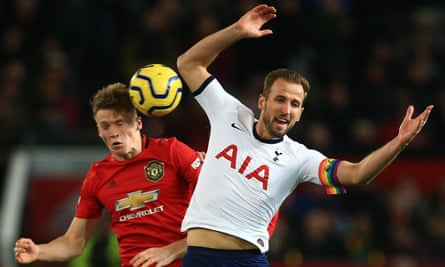 Harry Kane (right) in action for Tottenham at Manchester United last December.