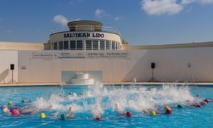 Brighton Swimming Club opened Saltdean Lido in Brightonv with a synchronised swimming display.