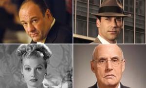 Left to right clockwise: Tony Soprano, Don Draper, Jeffrey Tambor and Lucy Ricardo.
