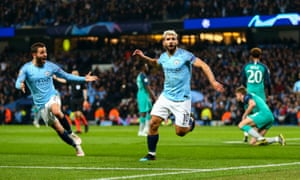 Sergio Aguero of Manchester City celebrates after scoring a goal to make it 4-2