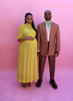 Nicolette Robinson and Leslie Odom Jr, who was nominated for his role in One Night in Miami, struck all the right notes here. He might have hit the high-note with a highlighter-green turtleneck but it was all in harmony thanks to the more muted tones of the rest of his Valentino couture outfit