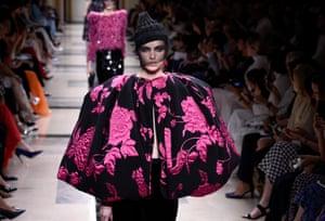 Model Sanne de Roo in fuschia prints on the Giorgio Armani Prive catwalk.