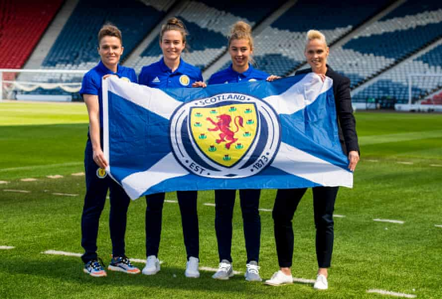 Scotland's Joanne Love, Lee Alexander, Nicola Docherty and manager Shelley Kerr.