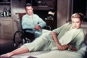 'Hitchcock's characters are always seeking some kind of shelter': a scene from Rear Window (1954) with James Stewart and Grace Kelly.