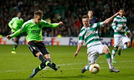 Vaclav Cerny scores Ajax's second goal to end Celtic's chances of progressing from their Europa League group.
