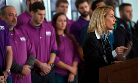 Sara Nelson speaks at a press conference in Arlington, Virginia, on 24 January.