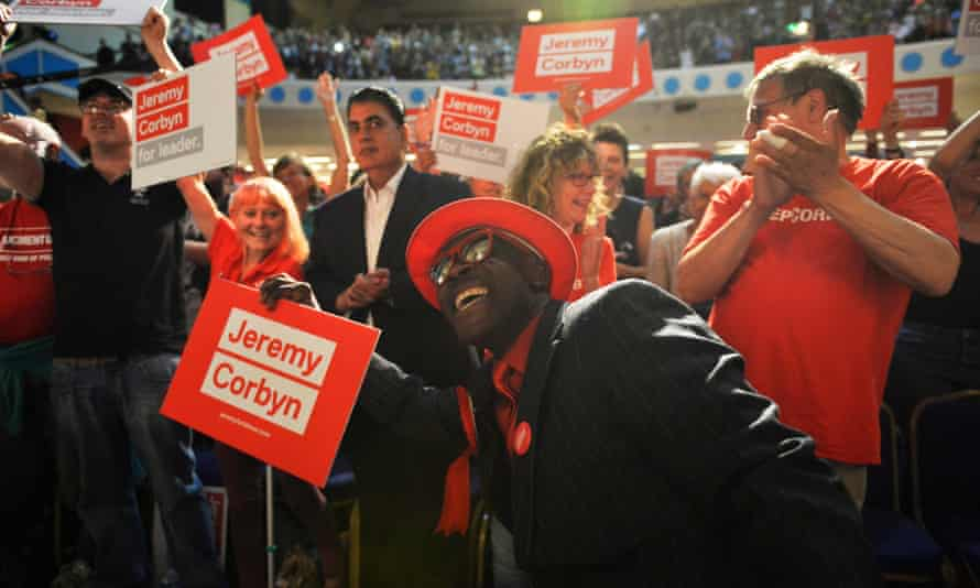 Corbyn supporters at a leadership rally in London in August