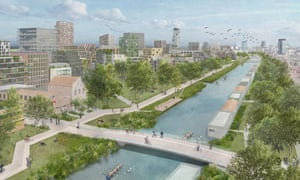 A plan of Merwede, a car-free area residential district in Utrecht, designed to house 12,000 people