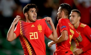 Marco Asensio celebrates after scoring Spain's second goal in Elche.