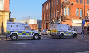 Police at the scene in Belfast where Ian Ogle was killed on Sunday night.